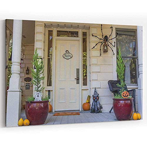 American Porch with Halloween Decoration in Nevada City Canvas Art Wall Dector,Modern Home Decor -