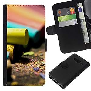All Phone Most Case / Oferta Especial Cáscara Funda de cuero Monedero Cubierta de proteccion Caso / Wallet Case for Samsung Galaxy Core Prime // Artwork Pencil Colorful Design Art Yellow