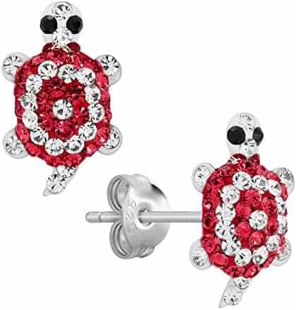 Mermaid Owl Butterfly /& Ballet Slippers Stud Earrings for Girls Flower Nickel Free ICYROSE 925 Sterling Silver Set of 6 Pairs Pink Flamingo