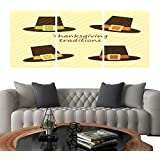 "UHOO Triptych Paintings Combination DecorativeCute Thanksgiving Elements as Retro Fabric Applique in Traditional colors1. Bedroom,Hotel so on 24""x36""x3pcs"