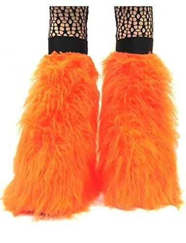 Uv Orange Fluffy Furry Boot Covers Legwarmer Neon Party Rave Clubwear (Rave Clubwear Costumes)