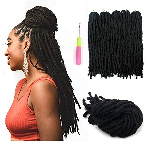 (5Packs) Black Reggae Hair Handmade Dreadlocks Extensions Twist Fashion Hip-Hop Styles 18