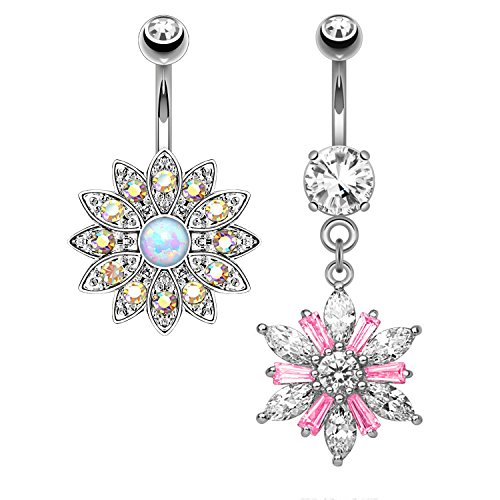 BodyJ4You 2PCS Belly Button Ring CZ Jeweled Floral Set 14G Navel Body Piercing Curved Barbell (1.6mm)
