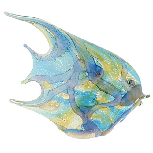 GlassOfVenice Murano Glass Shimmering Angel Fish Sculpture