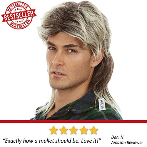 80s Blonde Mullet Wig for Men - Joe Dirt Wigs White Trash Redneck Costume by ALLAURA (Image #2)