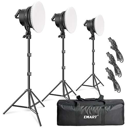 Emart 176 LED Dimmable Photography Lighting Kit with Reflector & Softbox Diffuser, Super-Bright Photo Studio Lights for Camera Continuous Lighting, Portrait Video Shooting Soft Light (3 Pack) by EMART