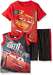Disney Toddler Boys' 3 Piece Cars Muscle Tank, T-Shirt and Short Set, Red, 2t