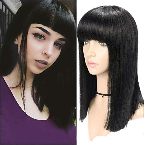 HANNE Shoulder Length Yaki Straight BoB Wig with Bangs 14 Inches Natural Black Color Heat Resistant Synthetic Hair Wigs (1B)]()