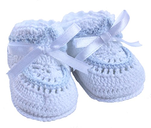 (Petit Ami Baby Boys White & Blue Crocheted Booties Newborn & 3/6 Months (3/6 Months))