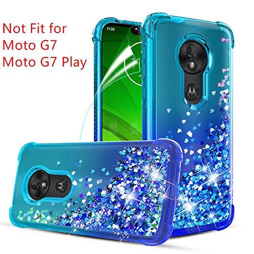 Moto G7 Power Case,Moto G7 Supra/XT1955/Moto G7 Optimo Maxx XT1955DL w/Screen Protector,Glitter Quicksand Reinforced Concerns TPU Bumper Cushion Anti-Scratch Phone Case for Girls Women-Teal Blue