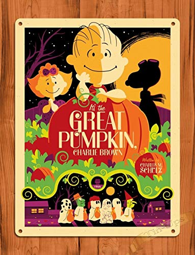 Tin Sign The Great Pumpkin Charlie Brown Vintage Art Painting Movie Poster TIN Sign 7.8X11.8 INCH ()