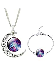 Jiayiqi Mystical Galaxy Universe Time Gem Bracelet New Moon Necklace for Women Jewelry Set