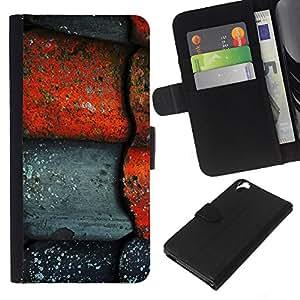 Stuss Case / Funda Carcasa PU de Cuero - Red Tile r¨²stica de piedra gris - HTC Desire 820