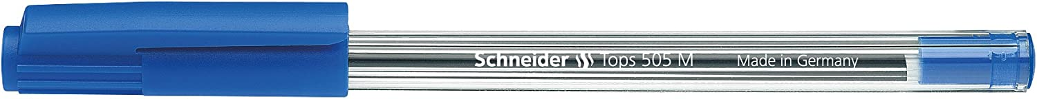 Schneider Tops 505 Ballpoint Pen with Clip Cap and Stainless Steel M Tip Blue Pack of 50
