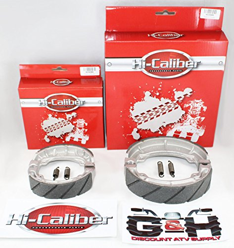FRONT & REAR SET OF WATER GROOVED BRAKE SHOES + SPRINGS For the Honda ATC 200 200M 200E 200ES BIG RED
