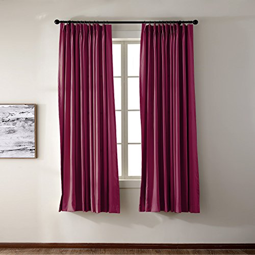 Pinch Pleat Curtain Solid Thermal Insulated Blackout Patio Door Panel Drape For Traverse Rod and Track, Burgundy 50Wx96L Inch (1 Panel)
