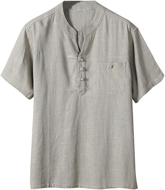 Camiseta Hombre Verano Algodón y Lino Manga Corta Color sólido ...