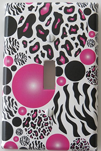 Leopard and Zebra Print Dots Light Switch Plate Covers in Hot Pink and Black by Presto Light Switch Covers