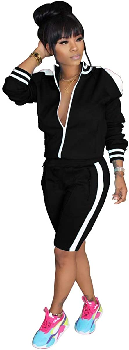 XuFeng Women's Long Sleeve Zip Up Coat Pockets SweatShorts Sport Jogger Sweatsuit