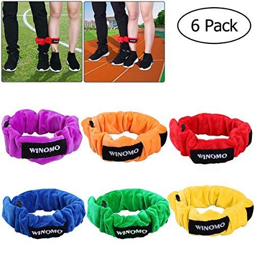 WINOMO 3 Legged Race Bands Elastic Tie Rope Straps Birthday Party Games for Kids Legged Race Game Carnival Field Day Backyard and Relay Race Game Christmas game -