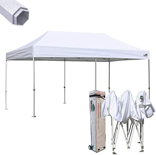 Eurmax Premium 10 x 20 EZ Pop up Canopy Tent Wedding Party Canopies Gazebo Shade Shelter Commercial Grade Bonus Wheeled Bag White