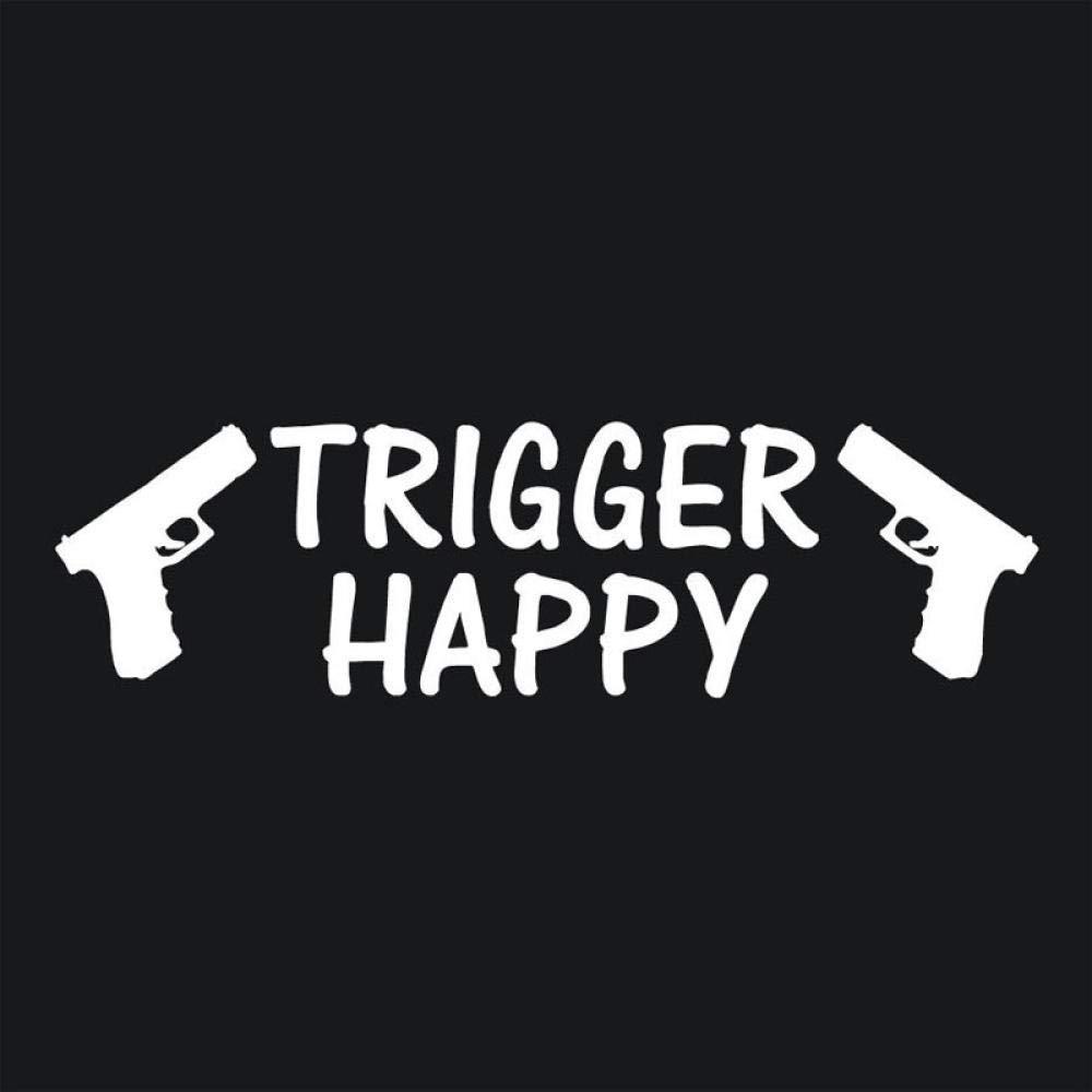 5.6CM-Schwarz Autoaufkleber Trigger Happy Stickers Guns 9mm Pistole Vinyl Aufkleber Redneck Schusswaffen Auto Aufkleber Dekoration 20.3CM