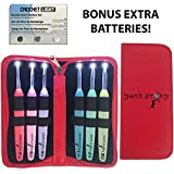 Lighted Crochet Hook Set and Case with Replacement Batteries - LED Lighted Crochet Hooks - Color Coded Crochet Hooks with Lights for Arthritic Hands - Size 4mm To 6,5mm - Ergonomic Grip Handles (RED)