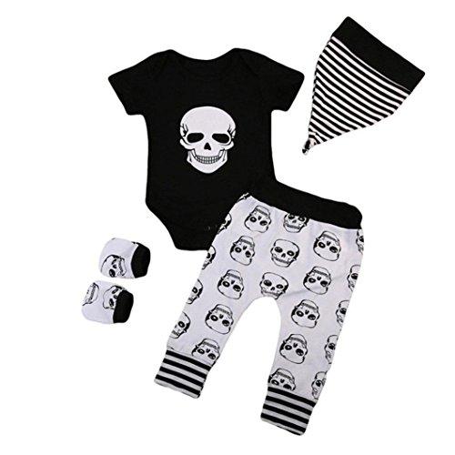 GoodLock Baby Boys Girls Fashion Clothes Set Infant Halloween Bone Print Romper+Pants+Hat+Gloves Set 4Pcs (Black, 6 Months)