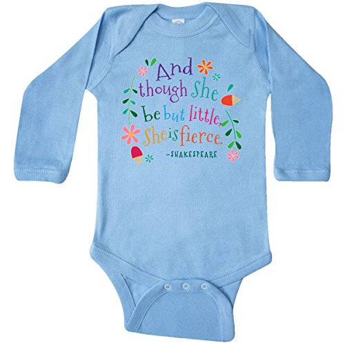 inktastic - She is Fierce Funny Long Sleeve Creeper 12 Months Light Blue 2aead
