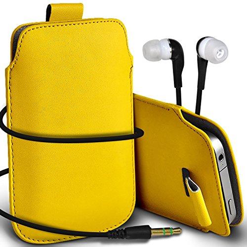 N4U Online - Apple Iphone 4S Prime de protection PU cuir Pull Tab cordon glisser la peau Pouch Pocket Housse & Matching casque 3,5 mm écouteurs écouteurs - Jaune
