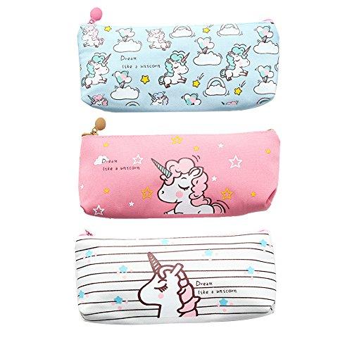 Unicorn Pen Holder Makeup Bag Canvas Pencil Pouch Zipper Stationery Purse Cute Wallet Cosmetic Bags Travel Small Case 3PC Bag Pen Holder
