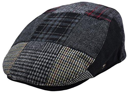 Classic Men's Flat Hat Wool Newsboy Herringbone Tweed Driving Cap (IV1579-Multi Patch, ()