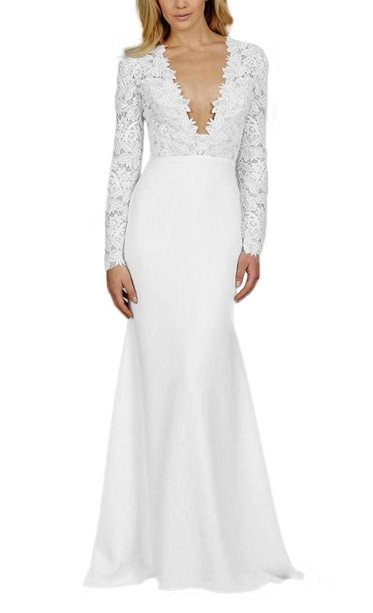 SDRESS Women's Long Sleeve Deep V-Neck Long Mermaid Wedding Dress for Bride
