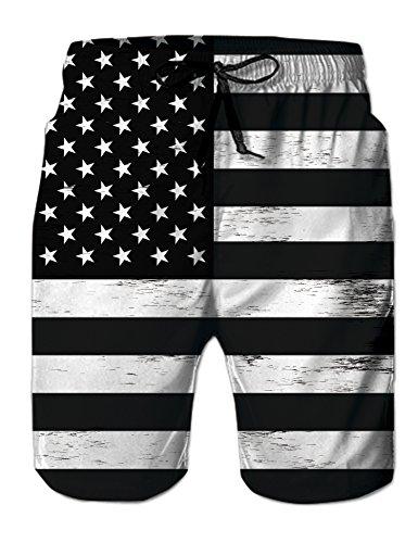 uideazone Mens 3D Black White American Flag Swim Shorts Summer Cool Beach Surfing Board Shorts -