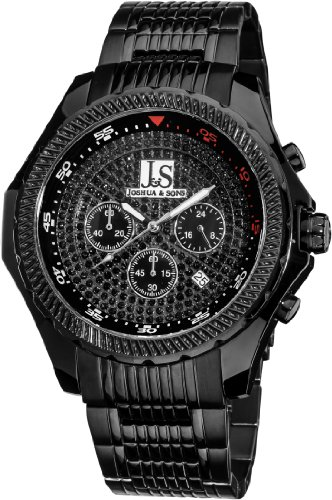 Dial Chronograph Black Mop - Joshua & Sons Men's JS-43-BK Large Dial Quartz Chronograph Bracelet Watch
