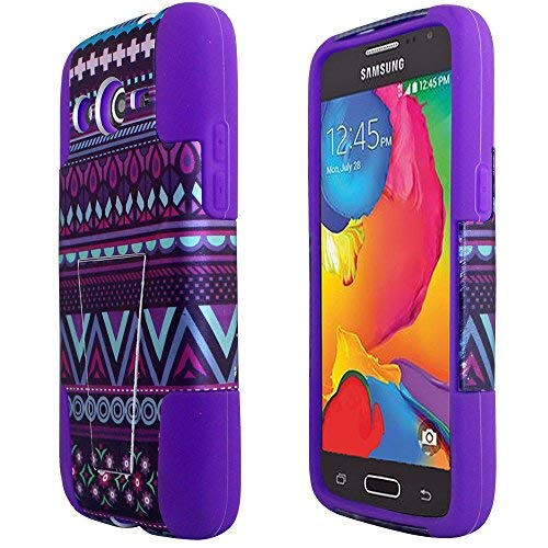 2 Items Combo: ITUFFY(TM) Stylus Pen + Design Dual Layer Kickstand Impact Armor Hybrid Rubber Silicone Case for Samsung Galaxy Avant SM-G386T G386 (Purple Aztec Tribal Flower - Purple) (Samsung Galaxy Avant G386 Case)