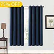 Balichun 99% Blackout Thermal Insulated Blackout Grommet Window Curtain for Bedroom (2 Panels, W52 x L63, Navy Blue)