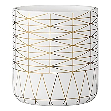 Bloomingville Ceramic Triangle Design Flower Pot, White and Gold