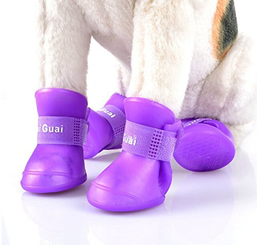 f8072617df5bd (Purple) 4PCS Hot Dog Boot Waterproof Anti-Slip Pet Shoes Boot Dog Puppy -  Size S: 1.6