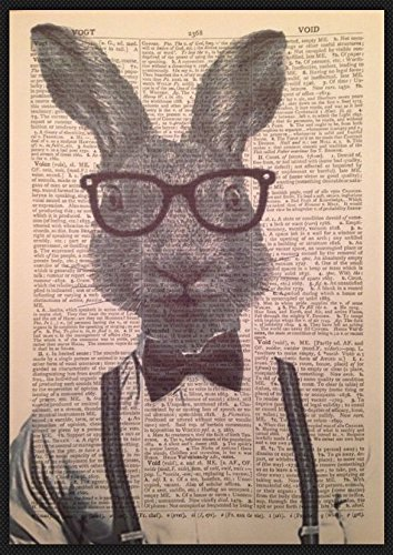 Vintage Hare Rabbit Print Picture Dictionary Page Wall Art Quirky Animal Bow Tie Humanised (Quirky Art Prints)