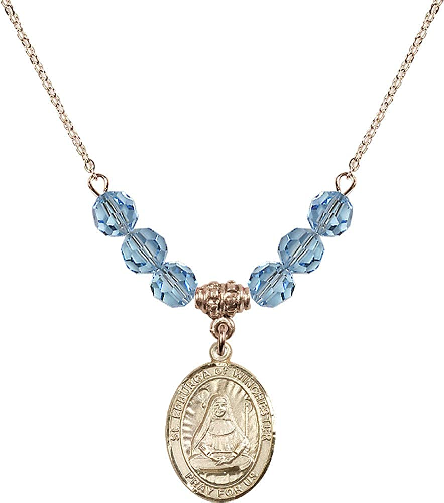 Bonyak Jewelry 18 Inch Hamilton Gold Plated Necklace w// 6mm Blue March Birth Month Stone Beads and Saint Edburga of Winchester