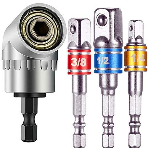 Right Angle Drill+3pc Impact Grade Socket Adapter/Extension Set,105 Degree Multifunction Right Steel Angle Driver Angle Extension Power Screwdriver 1/4inch Hex Bit Socket Holder Power Drill Tool