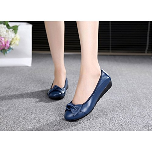 Zapatillas zapatos diseño Royal lazo de para mujer Azul moto informales ballet de de rqfxrRSCw