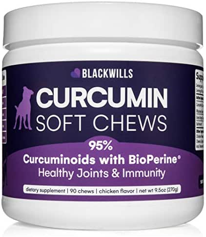Blackwills Pets Turmeric Curcumin Soft Chews for Dogs - 95% Curcuminoids + Bioperine + Coconut Oil - Natural Supplement for Hips & Joints - Natural Pain Relief + Anti-Inflammatory + Immune Support