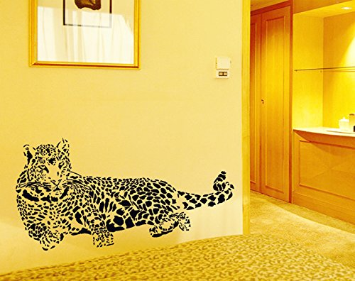 Wall Decal Black Sketch Style Animal Leopards Home Sticker Paper Removable Living Room Bedroom Art Picture DIY Mural Kids Nursery Baby Decoration + Gift Colorful Butterfliessery (Baby Leopard Pictures)