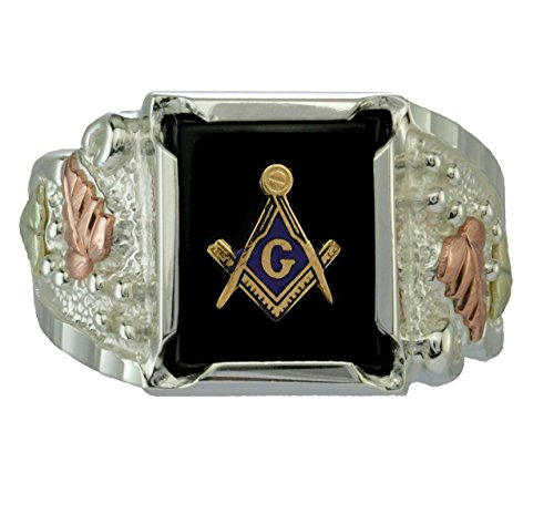 Men's Onyx Freemason's Ring, Sterling Silver, 12k Green and Rose Black Hills Gold, Size 10