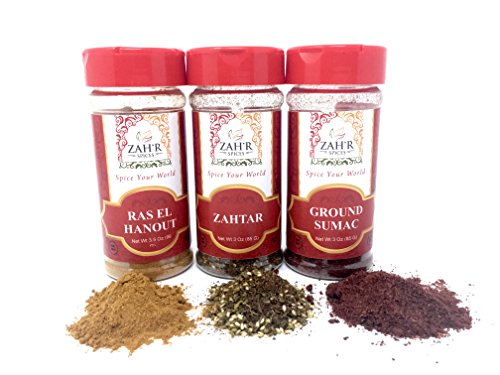 (Zah'r Spices Moroccan Spice Trio - Zahtar, Ground Sumac and Ras El Hanout Variety Pack)