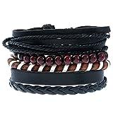 Search : ACVIP Vintage Punk Mixed 4 Wrap Bangle Bracelet Rope Wristband for Men