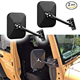 Motobiker 1 Pair Door Off Mirror for Jeep Wrangler One Pair Rectangular Mirrors fit for 1997~2006 2007~2017 Jeep Wrangler TJ Mirrors For Jeep, Textured Black (Rectangular)