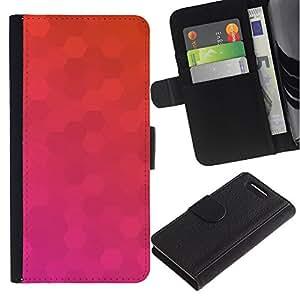 Caso Billetera de Cuero Titular de la tarjeta y la tarjeta de crédito de la bolsa Slot Carcasa Funda de Protección para Sony Xperia Z1 Compact D5503 Polygon Pink Purple Pattern Orange